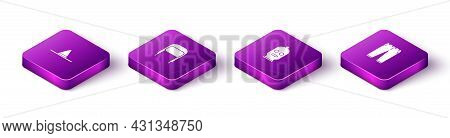 Set Isometric Gardener Worker Hat, Winter With Ear Flaps, Balaclava And Pants Icon. Vector