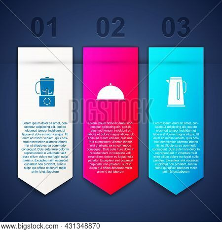 Set Blender, Covered With Tray And Kettle Handle. Business Infographic Template. Vector