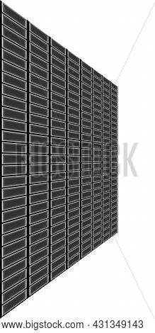 Illustration Perspective Surface Square Shape Cells Wall Isolated On White Background Vertical Pictu