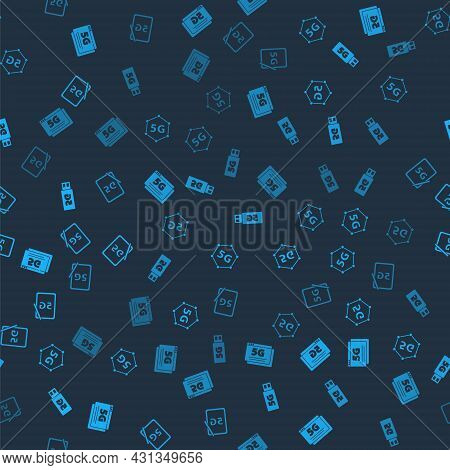 Set 5g Network, , Modem And Graphic Tablet With On Seamless Pattern. Vector