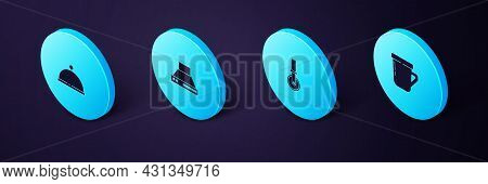 Set Isometric Coffee Cup, Pizza Knife, Kitchen Extractor Fan And Covered With Tray Icon. Vector