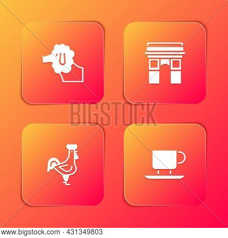 Set Poodle Dog, Triumphal Arch, French Rooster And Coffee Cup Icon. Vector