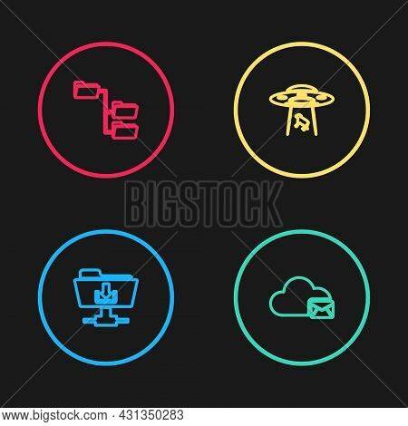 Set Line Ftp Folder Download, Cloud Mail Server, Ufo Abducts Cow And Folder Tree Icon. Vector