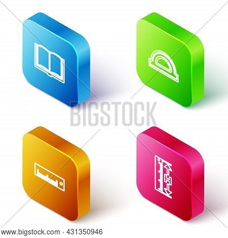 Set Isometric Line Open Book, Protractor Grid, Ruler And Measuring Height And Length Icon. Vector