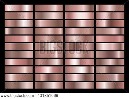 Rose Gold Gradients. Pink Golden Gradient Set, Roses Colorful Fashion Foil Textures Vector Illustrat