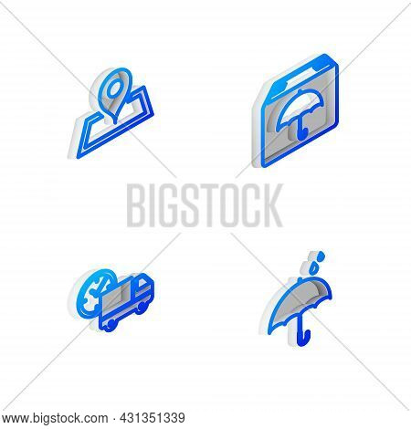 Set Isometric Line Delivery Package With Umbrella, Placeholder On Map, Truck And Clock And Umbrella
