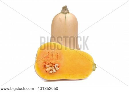 Butternut Squash And Haft Butternut Squash Isolated On White Background