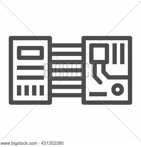 Printed Circuit Board Layout Microchip Contacts Line Icon, Electronics Concept, Pcb Vector Sign On W