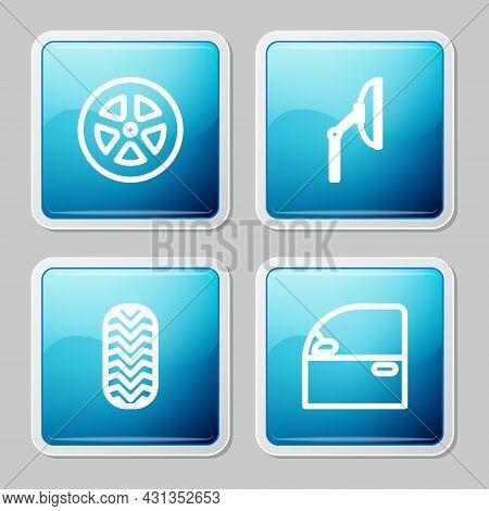 Set Line Car Wheel, Windscreen Wiper, Tire And Door Icon. Vector