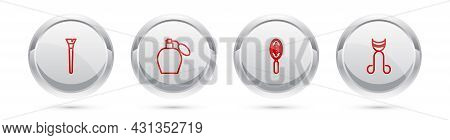 Set Line Makeup Brush, Perfume, Hairbrush And Eyelash Curler. Silver Circle Button. Vector