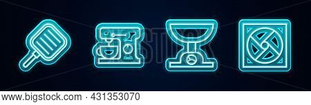 Set Line Frying Pan, Electric Mixer, Electronic Scales And Ventilation. Glowing Neon Icon. Vector