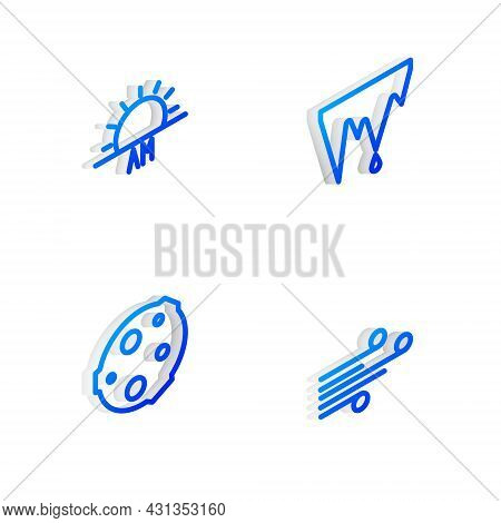 Set Isometric Line Icicle, Sunrise, Moon And Wind Icon. Vector