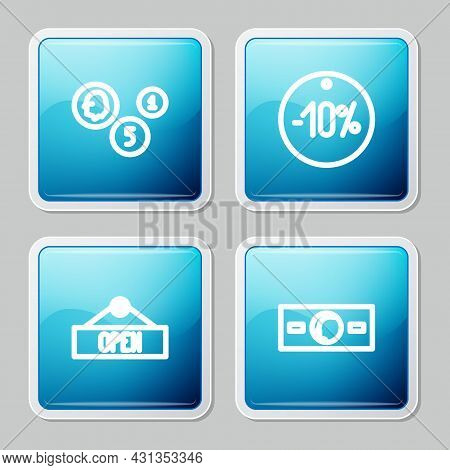Set Line Coin Money, Ten Discount Percent Tag, Hanging Sign With Open And Paper Cash Icon. Vector