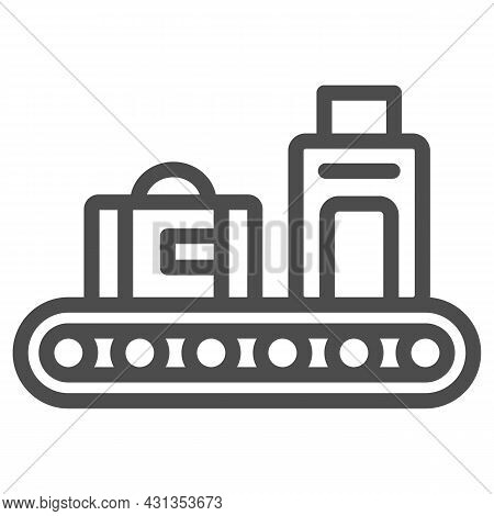 Luggage Conveyor Belt With Bags Line Icon, Security Check Concept, Baggage Claim Vector Sign On Whit