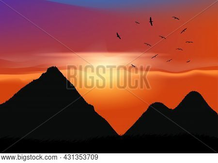 Graphics Landscape View Outdoor Nature Forest With Mountain Background And Twilight Silhouette Vecto