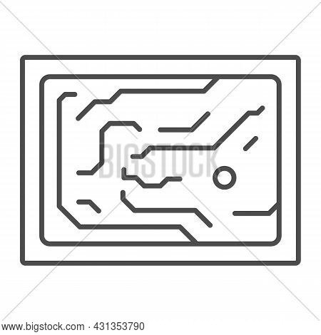 Printed Circuit Board Simplified Diagram Thin Line Icon, Electronics Concept, Pcb Vector Sign On Whi