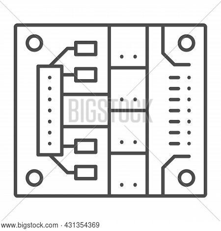 Printed Circuit Board With Mounting Slots Thin Line Icon, Electronics Concept, Pcb Vector Sign On Wh