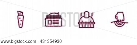 Set Line Carrot, Sauna And Spa Procedures, Ointment Cream Tube And Massage Icon. Vector