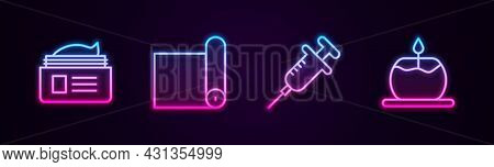 Set Line Ointment Cream Tube, Fitness Mat Roll, Syringe And Aroma Candle. Glowing Neon Icon. Vector