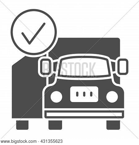 Container Truck, Checkmark, Cargo, Delivery Solid Icon, Transportation Concept, Lorry Vector Sign On
