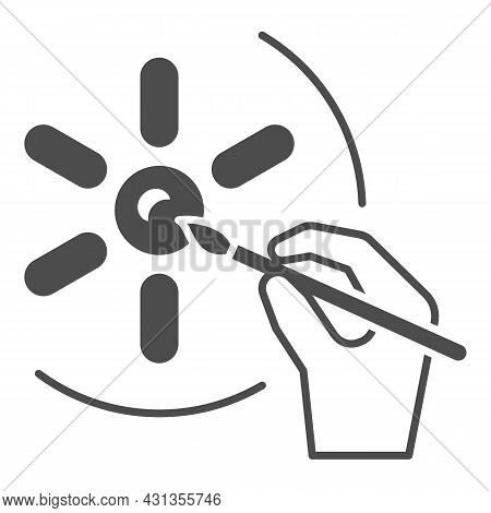 Sun And Painting Brush In Hand, Drawing Solid Icon, Sun Concept, Hand Drawn Sunshine Vector Sign On