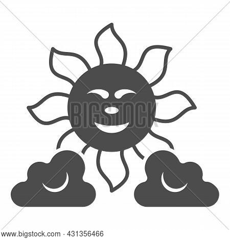 Sun Between The Clouds Solid Icon, Weather And Climate Concept, Sunshine In The Sky Vector Sign On W