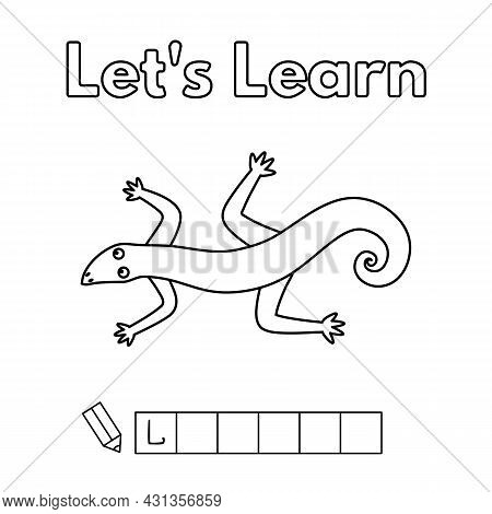 Cartoon Lizard Learning Game For Small Children - Color And Write The Word. Vector Coloring Book Pag