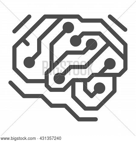 Fragment Of Analog Circuit In The Form Of A Brainsolid Icon, Electronics Concept, Pcb Vector Sign On