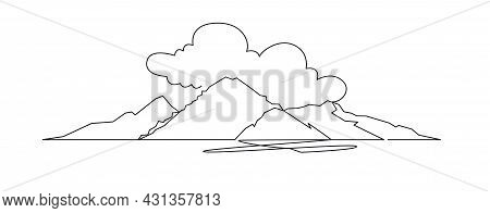 Mountain Landscape Continuous One Line Vector Drawing. Mount Fuji Hand Drawn Silhouette. Nature, Roc