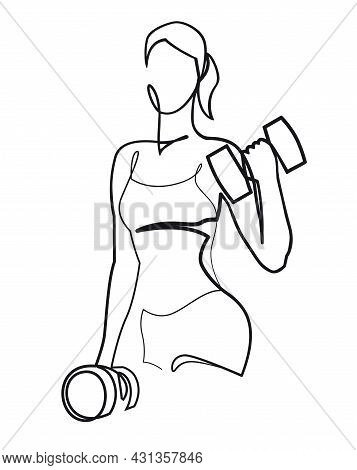 Woman Lifting Weights Continuous One Line Drawing. Female Bodybuilder Vector Hand Drawn Silhouette C