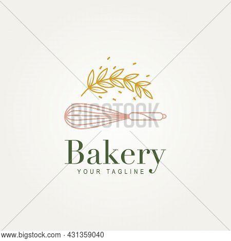 Bakery Shop Minimalist Line Art Logo Icon Template Vector Illustration Design. Simple Premium Cake S