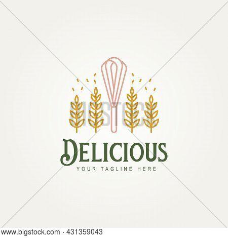 Delicious Bakery Store Minimalist Line Art Logo Icon Template Vector Illustration Design. Simple Pre