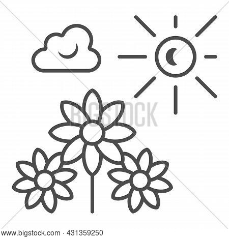 Sun Illuminate Flowers, Cloud, Sky Thin Line Icon, Nature Concept, Sunshine And Bloom Vectror Sign O