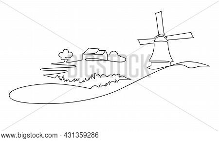 Rural Italian Landscape Continuous One Line Vector Drawing. Hills, House, Trees, Mill And Lake Hand