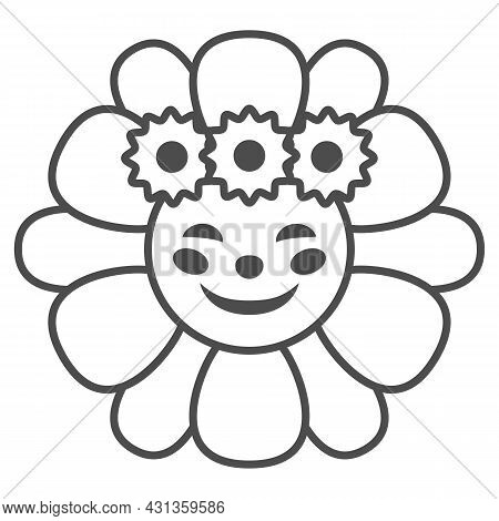 Smiling Sun In Daisies Wreath Thin Line Icon, Weather Concept, Sunflower In Diadem Vector Sign On Wh