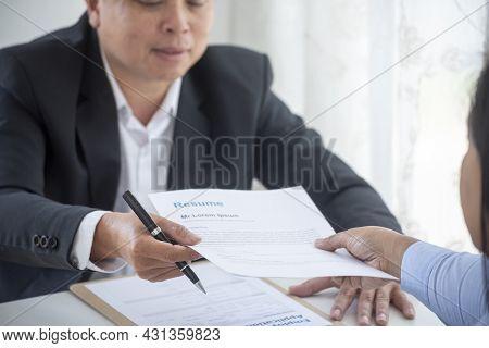 Businessman Job Interview By Human Resource Hr Officer Interviwing, Talk New Employee Shaking Hands