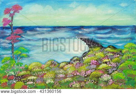 Oil Painting On Canvas Of Hilltop View Of Tropical Peninsula Jutting Out Into Ocean