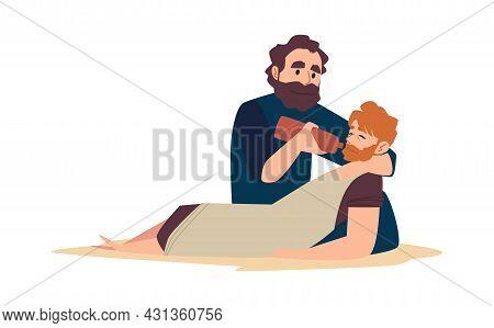Bible Christian Parable About Good Samaritan Help To Injured Man.