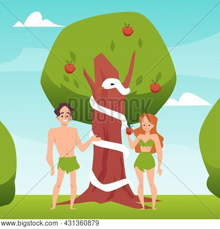 Temptation Of Adam And Eve With Forbidden Fruit, Flat Vector Illustration.