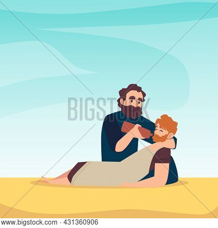 Poster With Scene Of Bible Parable About Good Samaritan Salvation Of Injured Man