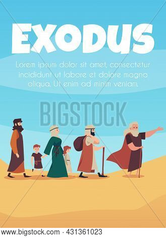 Scene Of Bible Narrative About Exodus Israelites Led By Moses.