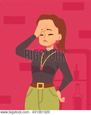 Upset Disappointed Business Woman Cartoon Character, Flat Vector Illustration.