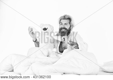 Bearded Hipster Play Toy. Man Hug Soft Toy Relaxing In Bed. Lovely Hipster. Make Surprise Concept. C