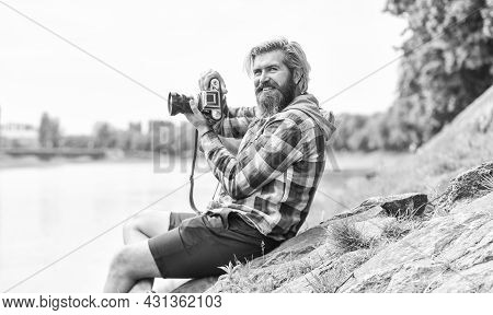 Carefree And Happy. Photographer Use Vintage Camera. Bearded Man Hipster Take Photo. Photo Shooting