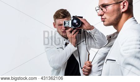 Young Confident Brothers. Confident Model Photographer. Twins Brother In White. Photographing