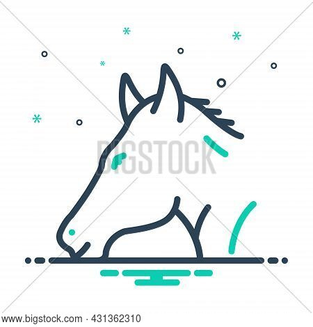 Mix Icon For Horse Steed Animal Domestic Running Pony Mustang
