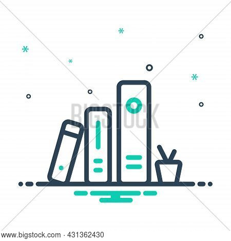 Mix Icon For Literary Written Poetic Artistic Rack Textbook Series Bookmark Education Library