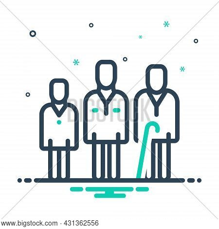 Mix Icon For Age Number-of-years Life People Human Generation Aging Process Cycle