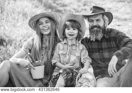 Eco Life. Happy Family Day. Mother Father And Cute Son. Family Farm. Parents And Little Baby. Spend