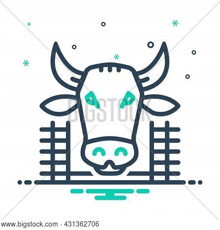 Mix Icon For Cow-in-shed Cow Shed Farmyard Cattle Pet Breed Agriculture Pavilion Beef Animal Hay